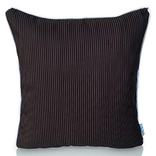 Sunburst Outdoor Living BLACK STRIPE 50cm x 50cm (Con Tubazioni) Federa decorativa per cuscini per divano, letto, sofà o da esterni - Solo federa, no interno