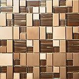 Mosaico de vidrio de acero inoxidable Azulejos de mosaico color mixto Art Deco acero inoxidable mosaico 300*300mm Cocina backsplash / ducha de pared de la pared de la pared / Hotel pasillo pared de la frontera / piso residencial de piso y aplicaciones de la pared SA168-3 (1 pieza)