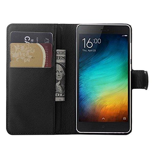 Nadakin Xiaomi Mi 4i/Xiaomi Mi 4c Hülle , Premium Leder Schutzhülle Flip Mappen Kasten Abdeckung,Handyhülle aus Taschenhülle mit Kreditkartenhaltern, Standfunktion, Geldbeutel, Magnetverschluss für Xiaomi Mi 4i/Xiaomi Mi 4c (Schwarz)