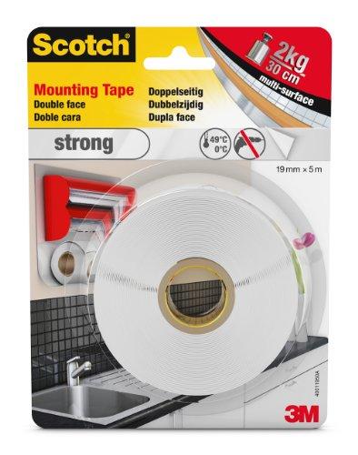 Scotch doppelseitiges Montageklebeband in Weiß 40011950 - Starker Halt für die Verwendung im Innenbereich - 19 mm x 5 m