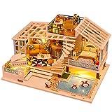 Kbsin212 Casas De Muñecas con Luces Y Muebles Casa De Bricolaje DIY Casa De Jugete 28 20 16 CM Los Mejores Regalos para Niños Y Niñas