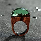 Mings Holz Kunstharz Ring mit Miniatur Fantasy Secret Forest Landschaft Jewelry Ring – green-1pc