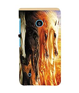 Fuson 3D Printed Dual Horse Designer Back Case Cover for Nokia Lumia 530 - D1068