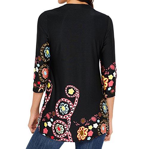 Juleya Femmes Tunique à manches 3/4 décontractée - Bohème Vintage Floral Imprimé Blouse lâche plissée ethnique Tops swing Mini robe Noir