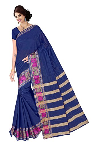 Boutique On Palm Bollywood Style New Generation Concept Party Wear Cotton Sarees (Navy Blue Jacquard Lining Pallu Vadi Velo Pannel)