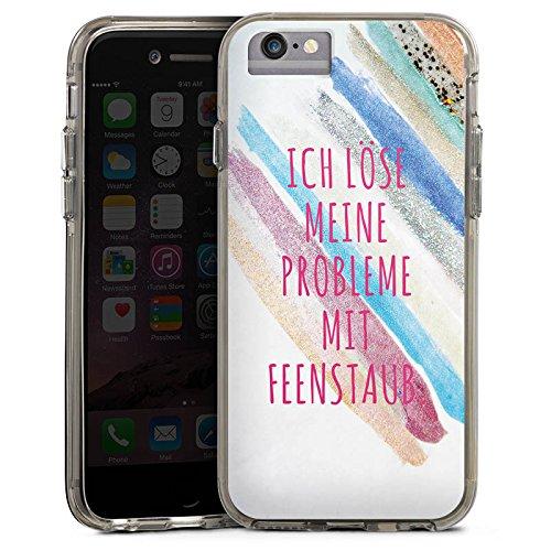 Apple iPhone X Bumper Hülle Bumper Case Glitzer Hülle Feenstaub Statements Sayings Bumper Case transparent grau