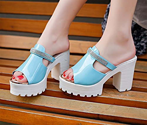 Mme chaussures d'été à bout ouvert à talons hauts imperméable Taiwan épais avec des sandales et pantoufles Blue