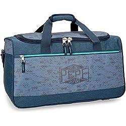 Pepe Jeans Pierce Bolsa de Viaje, 52 cm, 43.73 litros, Azul