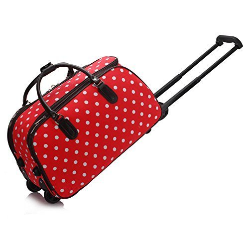 ladies-travel-holdall-bags-hand-luggage-womens-polka-dot-weekend-wheeled-trolley-handbag-red-polka-d