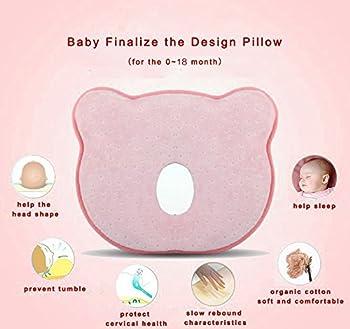 Baby-memory-schaumstoff-kissen, Romanstii Weich Waschbar Baumwolle Säuglinggs Kopf Unterstützung Verhindert Flachen Kopf Für 0-18 Monate Baby Neugeborene (10.24 '' X 8.76 '' X 1.38 '', Rosa) 1