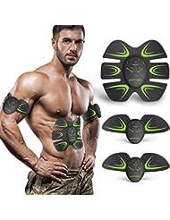 HOPOSO Elettrostimolatore per Addominali,Elettrostimolatore Muscolare Professionale, Stimolatore Muscolare 2 in 1 Massager EMS Addominali Trainer Elettrico per Braccia Elettrostimolatore Glutei