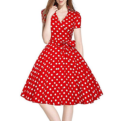 KPILP Frauen Cocktailkleide Vintage Kleid 50S Swing Elegant V-Ausschnitt Pinup Retro Lässig Minikleid Dating Hausfrau Party Ball Abend Petticoat(Rot,EU-36/CN-S