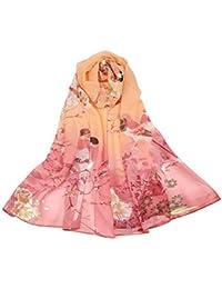 0dd9f047c739 Westeng Foulard Echarpe en en Mousseline de Soie Écharpe Mince Imprimé  Fleur pour Femme Eté 160