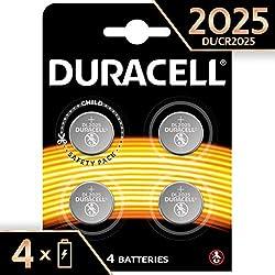 Pile bouton lithium Duracell spéciale 2025 3V, pack de 4 (DL2025/CR2025), conçue pour une utilisation dans les porte-clés, balances et dispositifs portables et médicaux