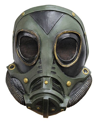 Preisvergleich Produktbild Steampunk Latex Gasmaske SciFi Halbmaske grün