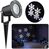 Updated Christmas Light Projector Outdoor White 12W Motion Snowflake Landscape Projector Holiday Decoration Waterproof LED Stage Lights for Home Garden(White)