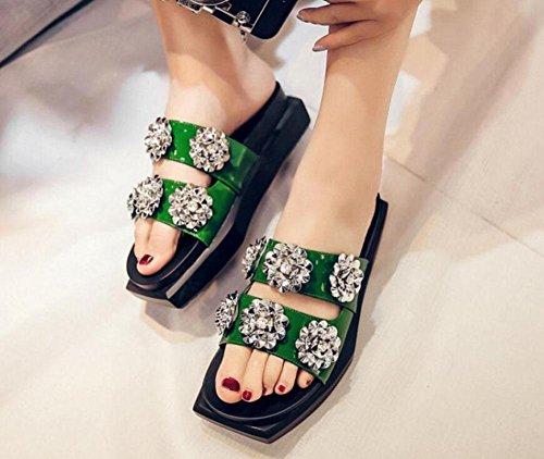 GLTER Damen flache Sandalen dicke untere Muffin halbe Hausschuhe Sommer Slip-On Hausschuhe Lackleder ein Typ Blumen Strand Pool Schuhe schwarz grün Green