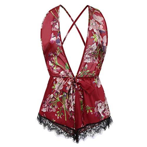 ALISIAM Sexy Lace Dessous Pyjamas Teddy Lingerie, Seiden Seidendruck mit Satin Floral Bow Rückenfreier Bodysuit Pyjamas Nachtwäsche (Floral Pyjama Satin)