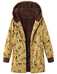 a2e2df0a56a TITAP S-5XL Womens Winter Warm Outwear Floral Print Hooded Pockets Vintage  Oversize Coats Pink