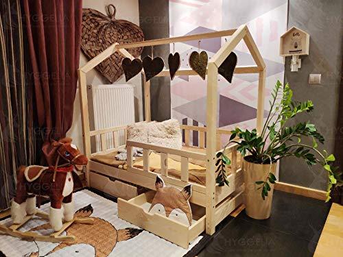 Hyggelia Kinderbett Hausbett aus Holz mit Sicherheitsbarriere und Zwei Schubladen Bonnie-Bett für Kinder, für Jugendliche Schlafzimmermöbel (193 x 203 cm (King Size), Natürliches Holz)