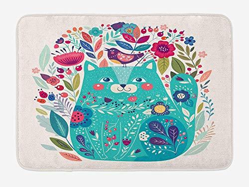 Klotr Fußabtreter, Cat Bath Mat, Cute Kitty Surrounded by Birds Flowers Ladybugs Inspirational Folk Baby Theme, Plush Bathroom Decor Mat with Non Slip Backing, 40X60 cm, Seafoam Multicolor