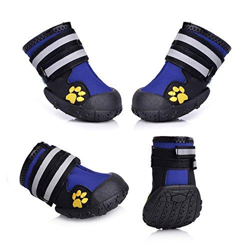 Magic Zone Wasserdichte Hundeschuhe Rutschfeste Hundeschnee Stiefel für verschiedene Größen 4pcs