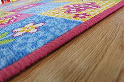 Colourful Fun Pink Butterfly Patchwork Girls Rug - inexpensive UK light shop.