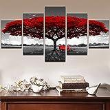 FENG Kreative Roter Baum Bank Landschaft 5 Zauber dekorationsmalerei Kern Leinwand,40x60cmx2,40x80cmx2,40x100cmx1