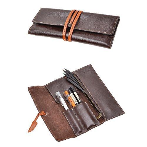 ZLYC - Funda de piel hecha a mano para lápices y bolígrafos, estuche para artículos de papelería, regalo para estudiantes, color café