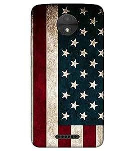 For Motorola Moto C Plus white star ( white star, flag, stripes, red line, star ) Printed Designer Back Case Cover By TAKKLOO