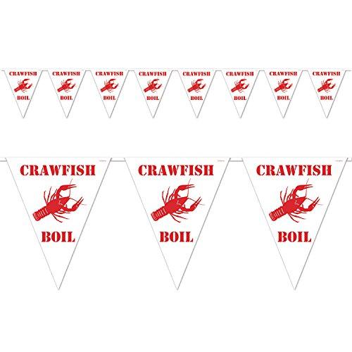 Beistle Crawfish Boil Pennant Banner, 10 x 12-Fuß, Weiß/Rot