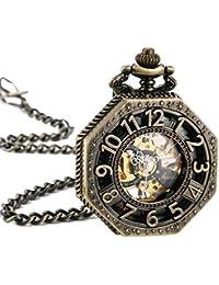 ManChDa Retro Reloj mecánico de bolsillo esqueleto remonte grabado Metal tono de bronce Octágono