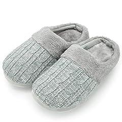 Idea Regalo - CityComfort Pantofole per Uomo e Donna in Memory Foam con Pelliccia Sintetica Ciabatte Unisex Invernali (40/41 EU, Cavo a Maglia Grigia Donna)