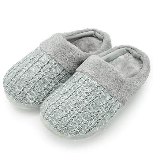 Citycomfort pantofole per uomo e donna in memory foam con pelliccia sintetica ciabatte unisex invernali (5-6 (euro 38-39), cavo a maglia grigia donna)