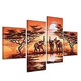 Bilderdepot24 Wandbild - Elefant Afrika M8 - handgemaltes Leinwandbild 120x80cm 4 teilig 464