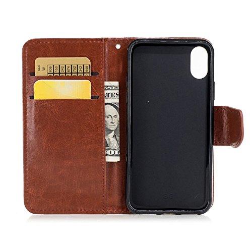 inShang Hülle für iPhone X 5.8 inch mit integriertem Brieftaschen-Design, iPhoneX 5.8inch cover case mit Standfunktion. brown