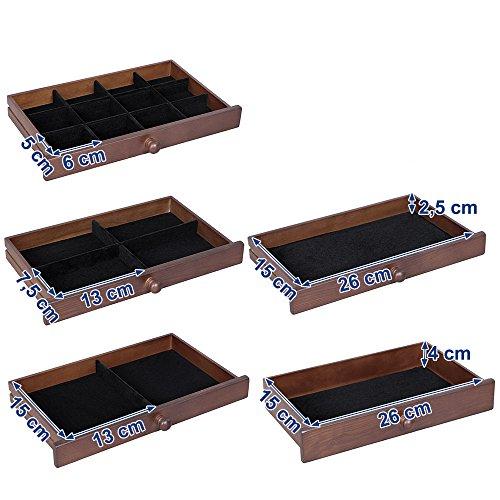 Songmics Schmuckkästchen 5 Schichten mit Schubladen Holz(MDF) dunkelbraun JBC56W - 6