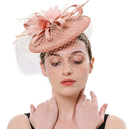 Coucoland Feder Fascinators Hut Damen Ahorn Blatt Mesh Hochzeit Braut Elegant Fascinator Haarreif Cocktail Tee Party Damen Fasching Kostüm Accessoires (Nude Pink)
