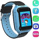 Niños Inteligente Relojes,GPS Tracker para Niños con cámara de Podómetro con Pantalla Táctil Llamadas SIM Anti-perdida SOS para Niñas Regalos de Cumpleaños (Azul)