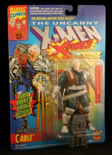 3RD EDITION CABLE with RAPID ROCKET FIRING ACTION The Uncanny X-Men X-Force Action Figure & Official Marvel Universe Trading Card by X Men (Xmen Trading Card Game)