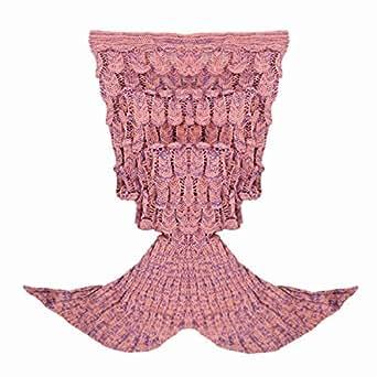 Tiaobug Meerjungfrau Schwanz Flosse Decke Handgemachte Gestrickte Schlafsack Wohnzimmer Kuscheldecke Decke Kostüm für Erwachsene und Kinder (Für Erwachsene, Altrosa)
