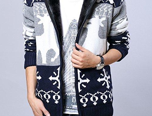 BOMOVO Herren Verdicken Weihnachten Strickpullover mit Rentier Retro Sweater Reißverschluss Mantel mit Kapuze dark blau