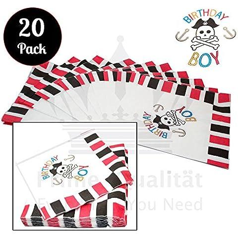 Compleanno Ragazzo, Confezione da 20tovaglioli di carta pirati teschio ossa incrociate design con 33x 33