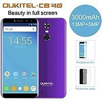 OUKITEL C8 Smartphone Libre (Versión 4G),5.5 Pulgada Android 7.0 MTK6850A Quad Core 2GB RAM 16GB ROM Cámara Frontal 2.0MP Cámara Trasera 8.0MP Escáner de Huellas Digitales SIM Dual (Violeta)