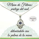Colgante Mano de Fátima con ojo Turco Plata de Ley | Collar con mensaje | Regalos especiales | Collar amuleto | Envío gratis