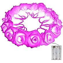 CrazyFire Guirlande Lumineuse Fleur Roses à 3 AA Piles avec 2.2 Mètres 20 LED Rose Décoration Maison Fête Chambre Mariage Pâques Carnaval(rose)