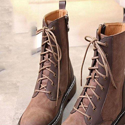 Stivali autunnali e invernali da donna Testa rotonda calda Stivali per il tempo libero e la locomotiva 36