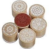 lumanuby 6pieza Vintage sellos de madera de punta redonda de costura artesanal Francesa con atractivo diseño floral