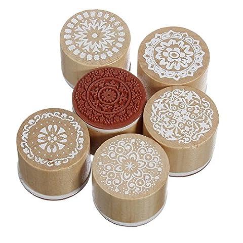 Lumanuby 6pcs vintage Tampon rond avec dentelle Stamp Bois Motif floral caoutchouc Stamper Crafts (Marron)