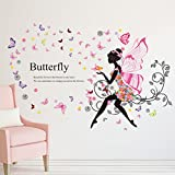 H&D Living Room Bedroom Decoration Butterfly Wall Stickers Sitting Room Wall Adornment Bedroom Sweet Romance Flower Fairy Princess Moon Girl Wall Sticker Home Decor Decals for Bedroom Kids Room DIY PVC Wall Art Decal Sticker (princess girl 2)
